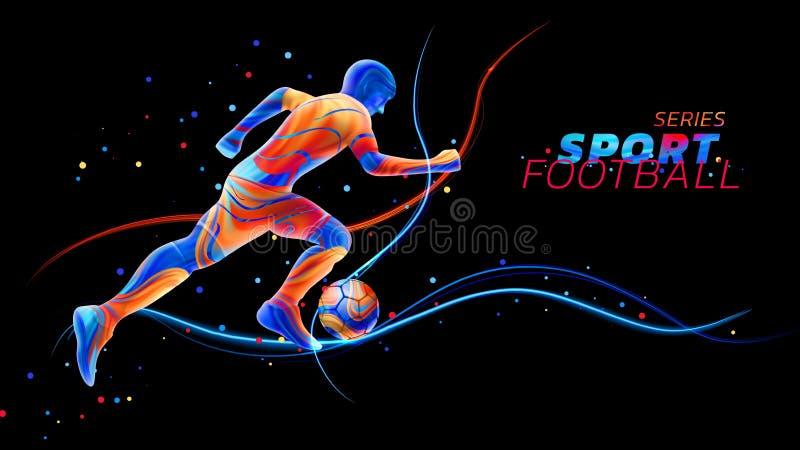 Vector o jogador de futebol 3d com as linhas claras de néon isoladas no fundo preto com pontos coloridos Projeto líquido com ilustração stock