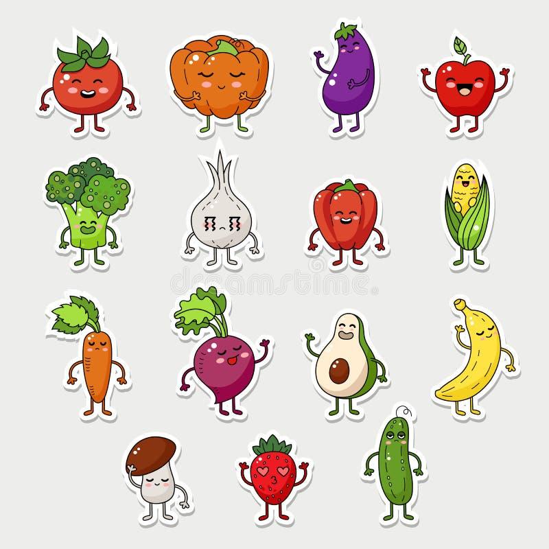 Vector o jogo de caracteres das frutas e legumes, ícone engraçado do alimento com cara das emoções ilustração stock