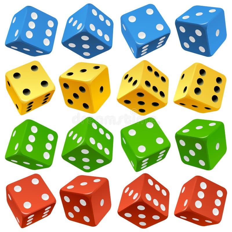 Vector o jogo vermelho, amarelo, verde e azul dos dados ilustração stock