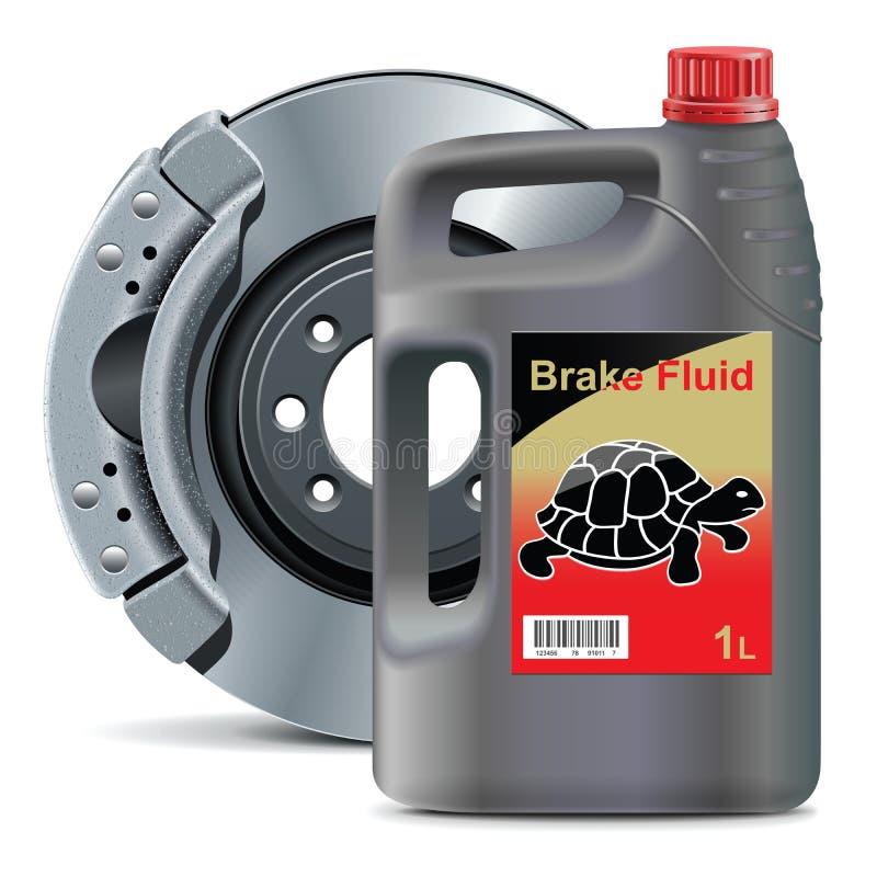 Vector o líquido de freio com vetores do óleo do biodiesel do freio de disco ilustração royalty free