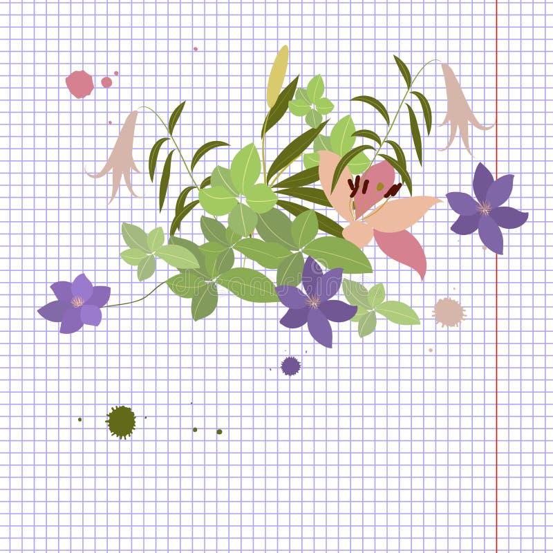 Vector o lírio cor-de-rosa do cartão e o arranjo de flor violeta do arabis ilustração do vetor