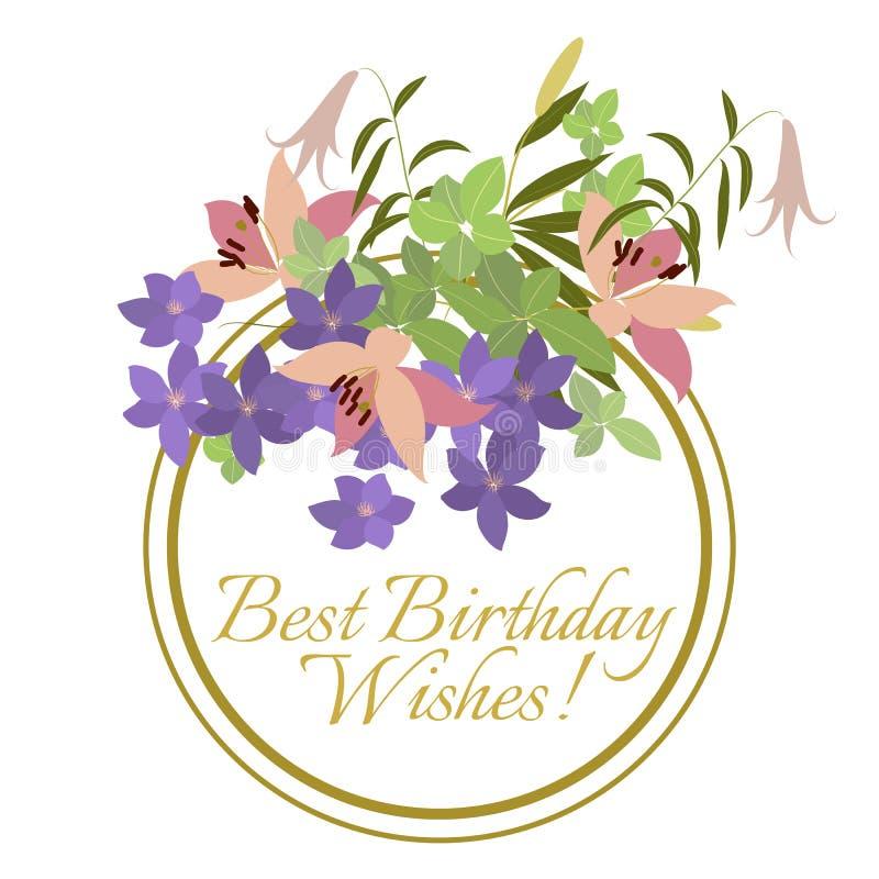 Vector o lírio cor-de-rosa do cartão e o arranjo de flor violeta do arabis ilustração stock