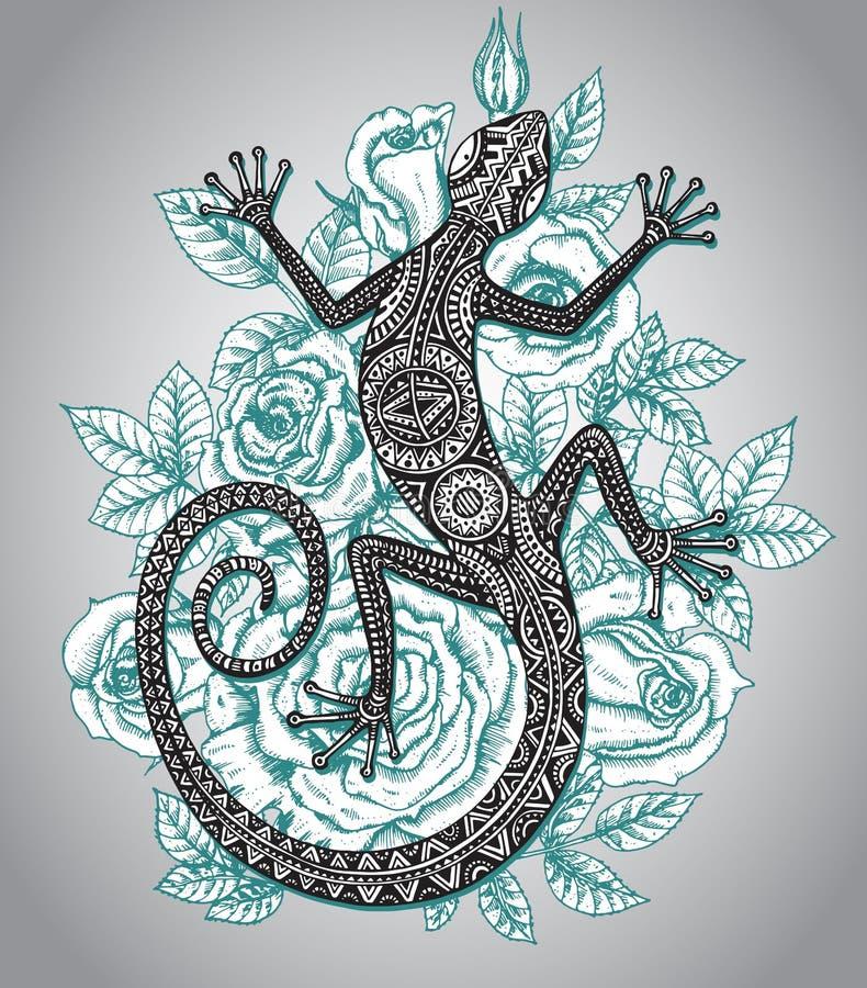 Vector o lagarto ou a salamandra tirada mão com alinhador longitudinal tribal étnico ilustração stock