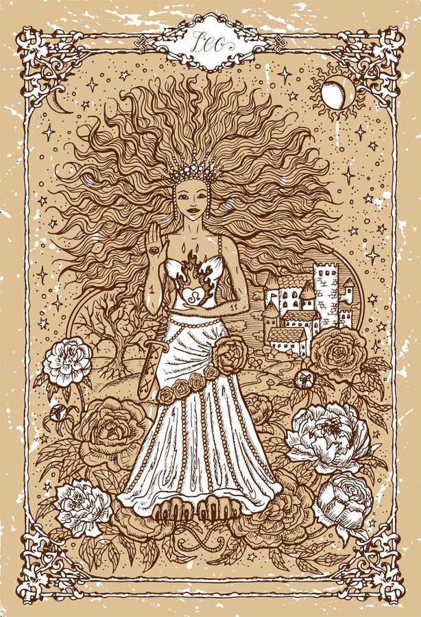 Vector o Leão do sinal do zodíaco da fantasia no quadro gótico na textura ilustração stock