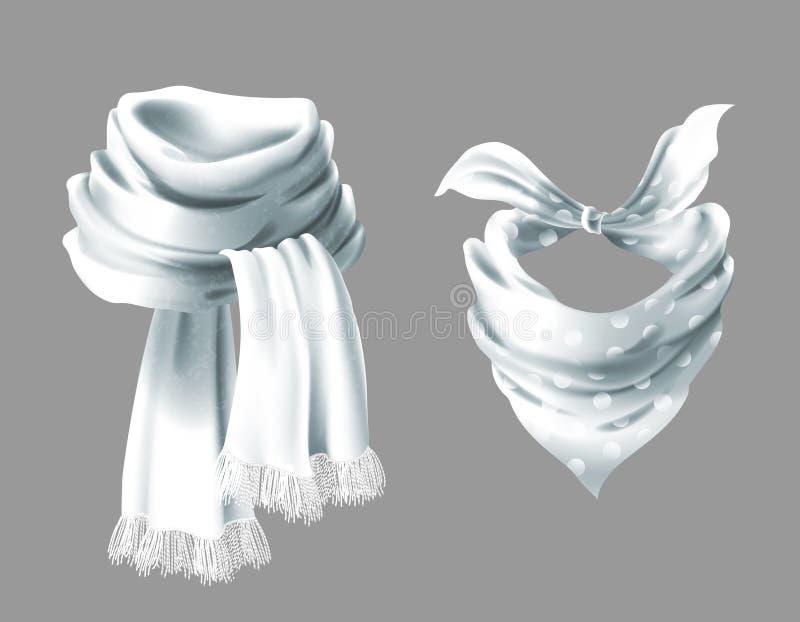 Vector o lenço de pescoço 3d vermelho realístico, lenço de pescoço ilustração stock