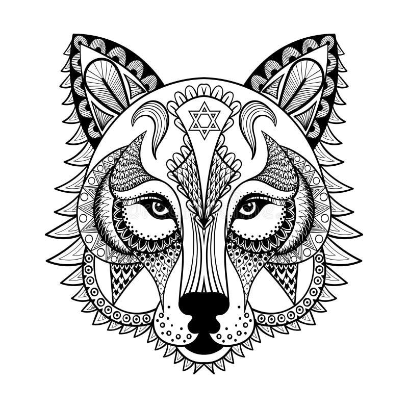 Vector o lobo decorativo, mascote zentangled étnica, amuleto, máscara ilustração royalty free