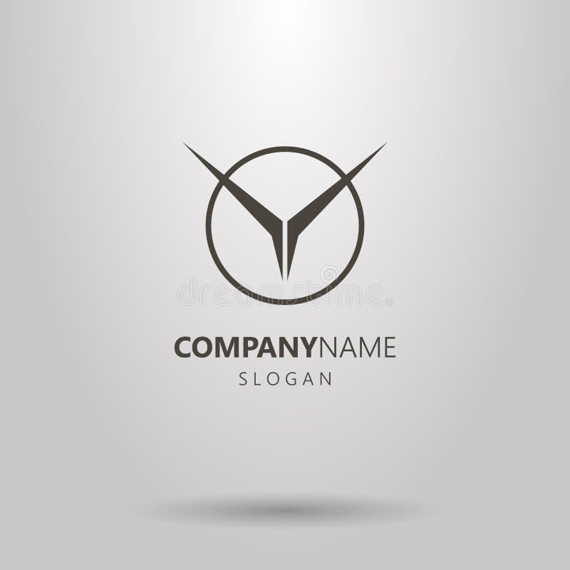 Vector o logotipo abstrato geométrico do pássaro de voo em um quadro redondo ilustração do vetor