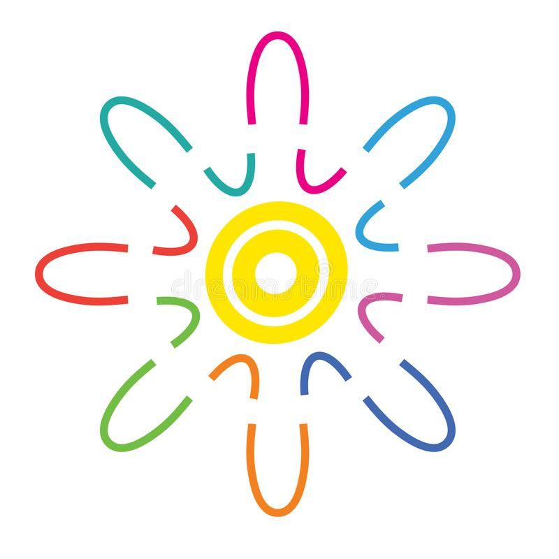 Vector o logotipo colorido abstrato, símbolo da harmonia, ícone da Web ilustração royalty free