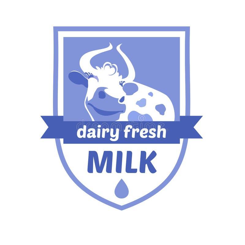 Vector o logotipo com a imagem de uma vaca Leite e leite ilustração do vetor