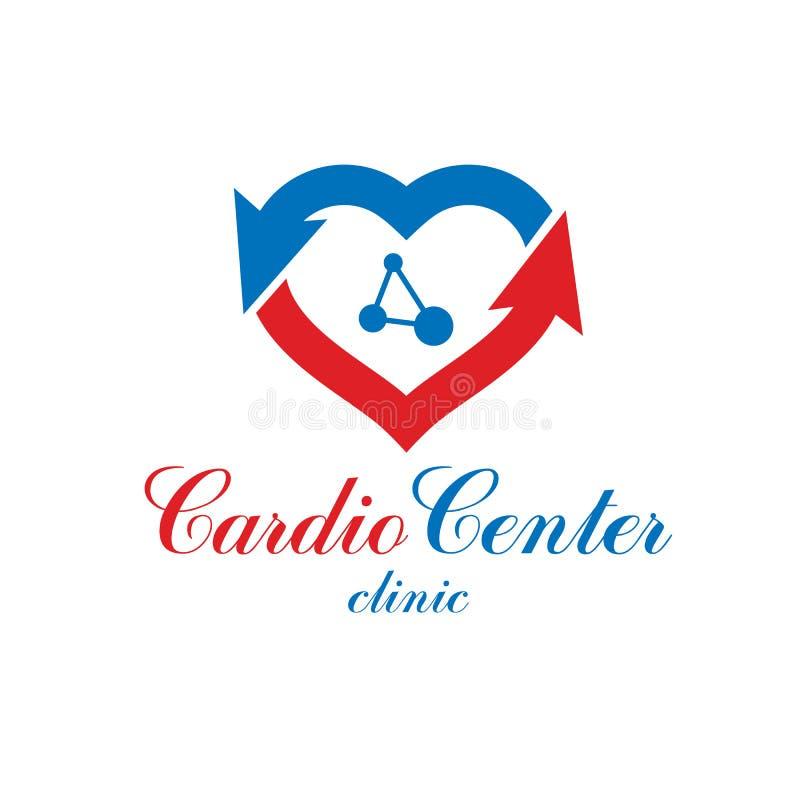 Vector o logotipo criado com as conexões do wireframe, malha da forma do coração ilustração stock