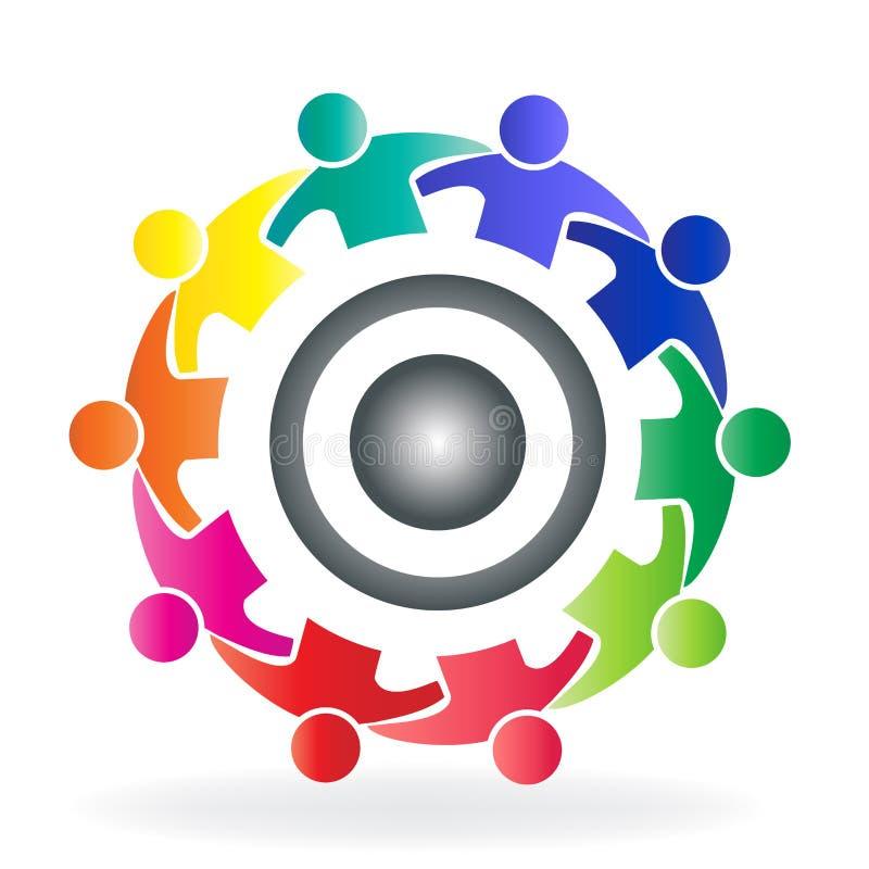 Vector o logotipo da engrenagem dos povos da solução da comunidade dos trabalhos de equipa em um molde criativo do ícone do proje ilustração royalty free