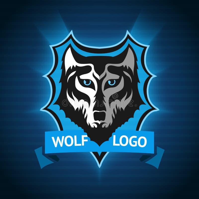 Vector o logotipo do lobo, o molde do crachá para equipes de esporte, o negócio etc. Na obscuridade - fundo azul ilustração stock