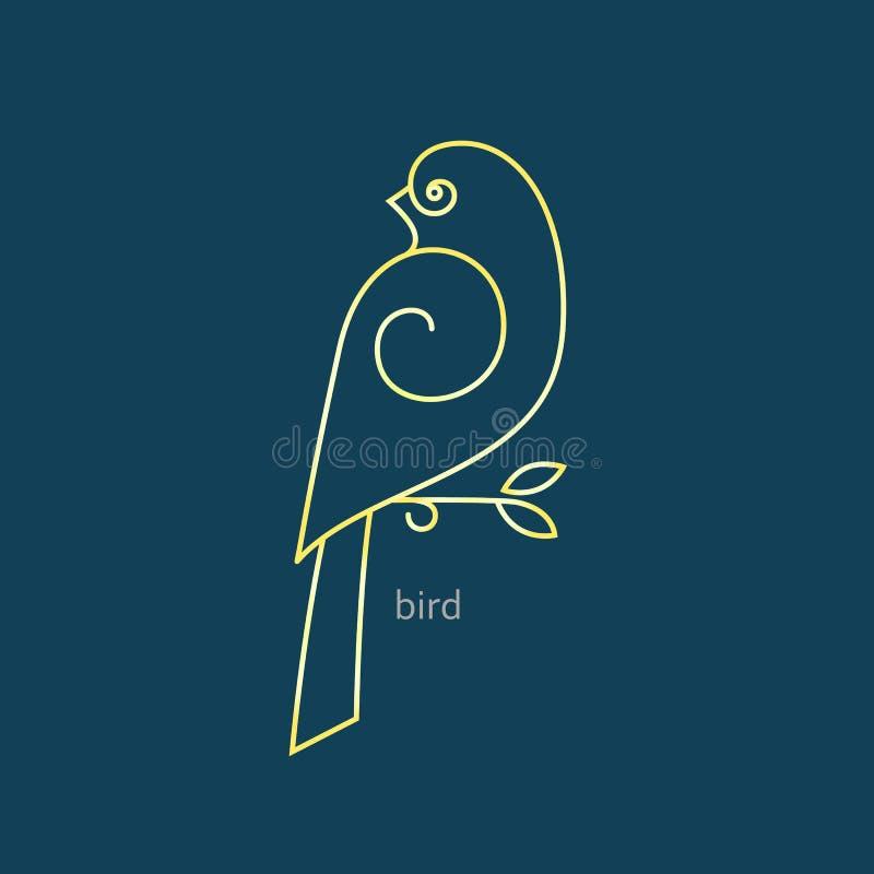 Vector o logotipo do pássaro em um estilo linear na moda ilustração do vetor