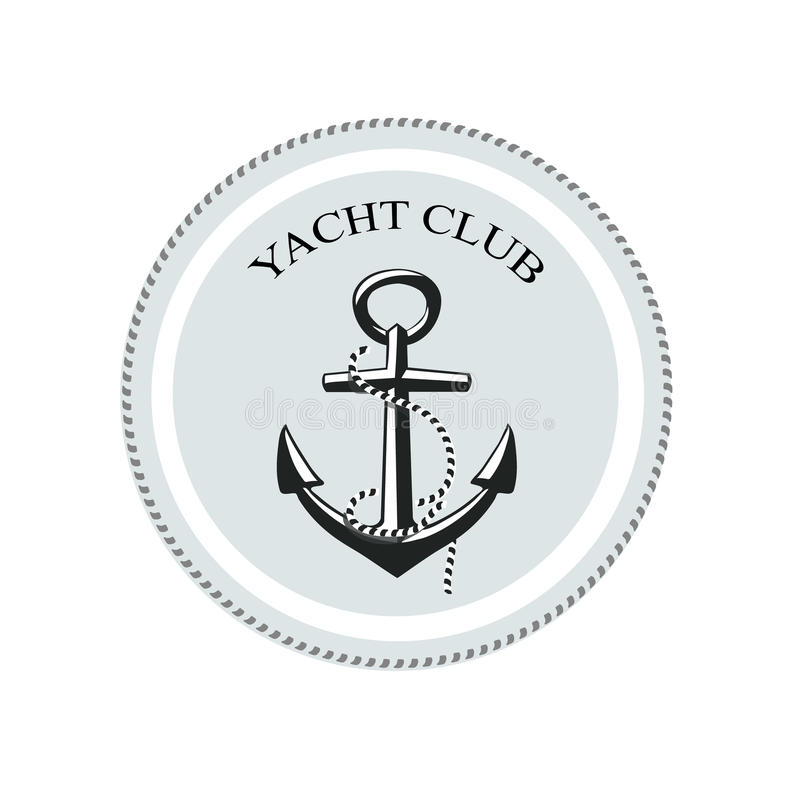 Vector o logotipo do yacht club, âncora em um branco ilustração royalty free
