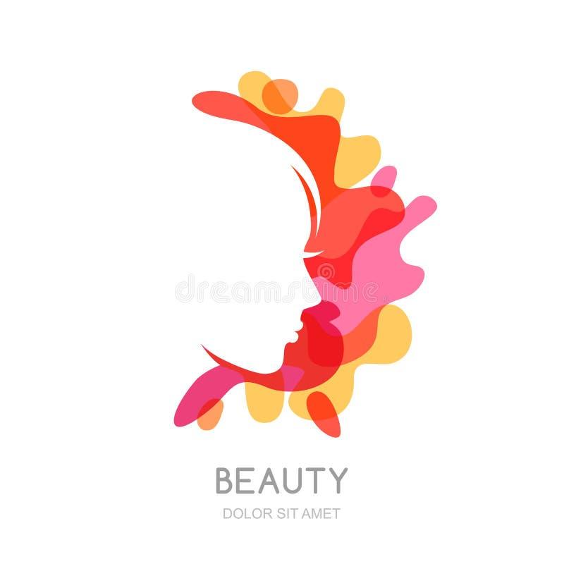 Vector o logotipo, elementos do projeto do emblema com perfil fêmea no fundo abstrato do respingo ilustração royalty free