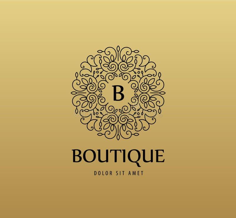 Vector o logotipo linear luxuoso do monograma, ícone da empresa Quadro decorativo para o menu do restaurante, hotel, joia ilustração stock