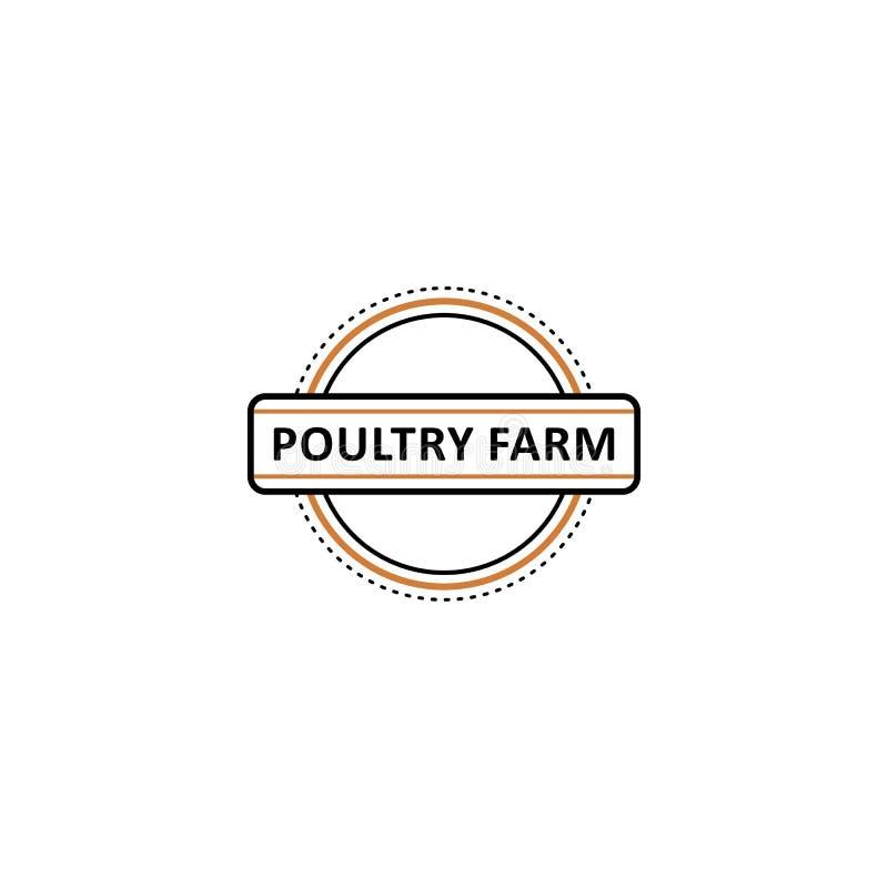 Vector o logotipo poutry liso da exploração agrícola no ícone do círculo ilustração stock
