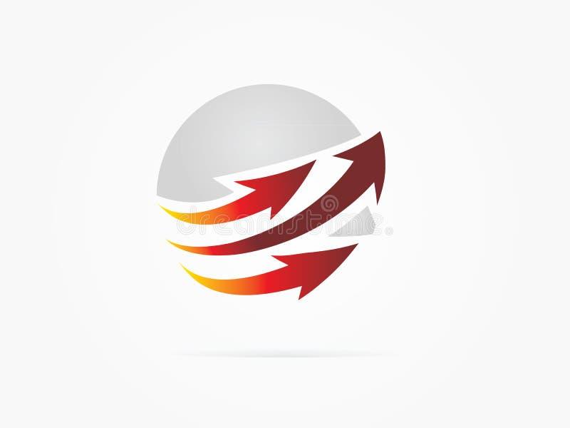 Vector o logotipo vermelho abstrato do círculo da seta da rotação da ilustração imagens de stock royalty free