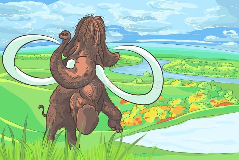 Vector o mammoth em uma paisagem com um rio ilustração do vetor