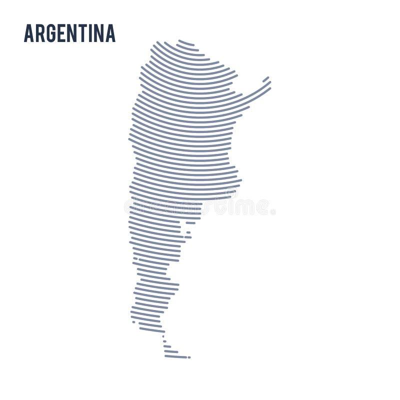 Vector o mapa chocado sumário de Argentina com as linhas da curva isoladas em um fundo branco ilustração do vetor