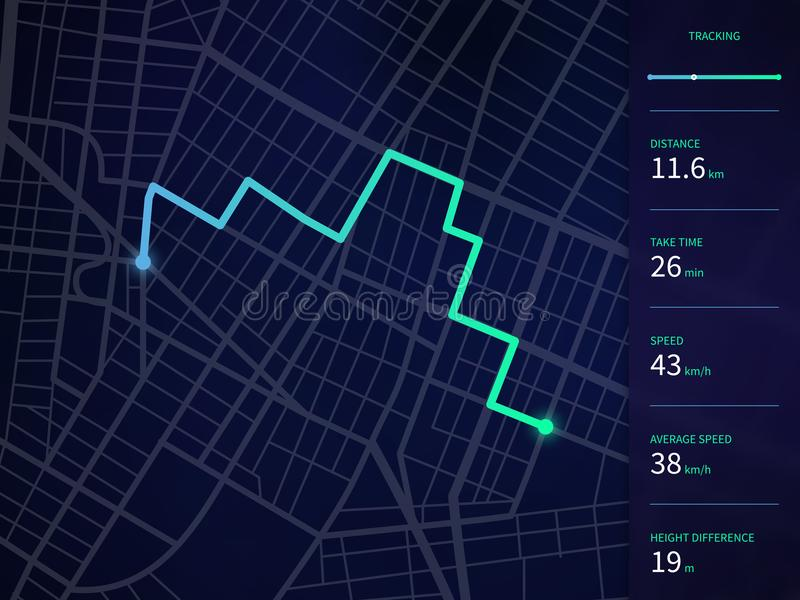 Vector o mapa da cidade com rota e os dados conectam para a navegação dos gps e o perseguidor app ilustração stock