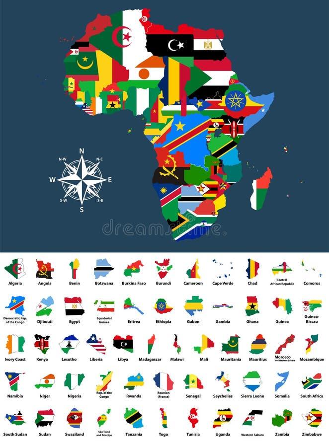 Vector o mapa de África misturou com as bandeiras de países A coleção de todos os mapas africanos combinou com as bandeiras isola ilustração do vetor