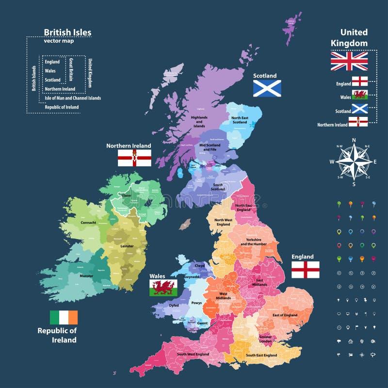 Vector o mapa de divisões administrativas de ilhas britânicas colorido por países e por regiões ilustração stock