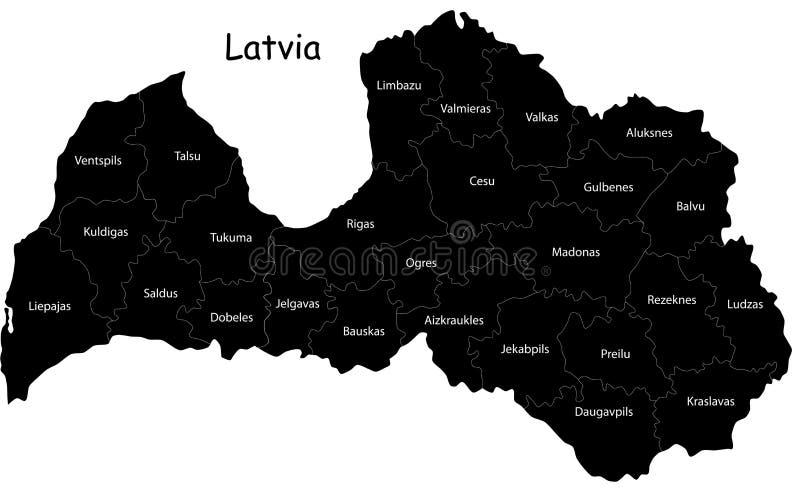 Vector o mapa de Latvia ilustração royalty free