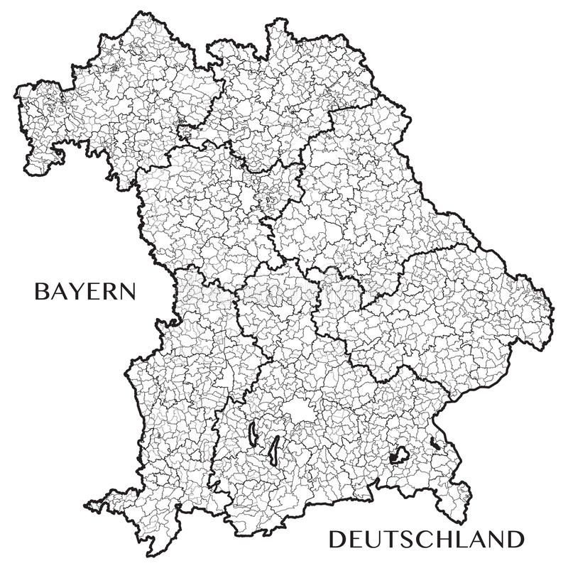 Vector o mapa do estado de Baviera Baviera, Alemanha ilustração stock