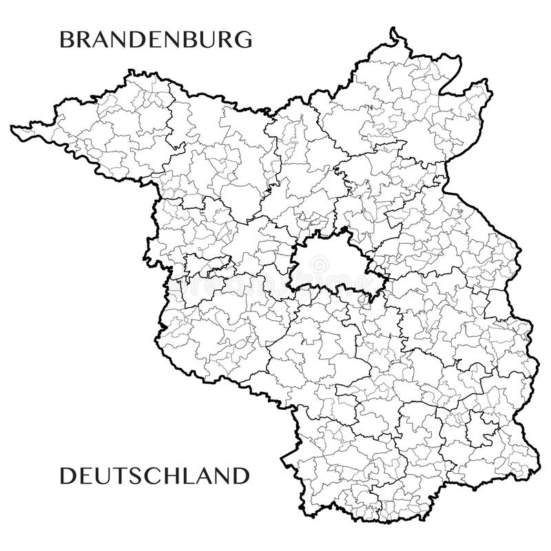 Vector o mapa do estado federal de Brandemburgo, Alemanha ilustração royalty free