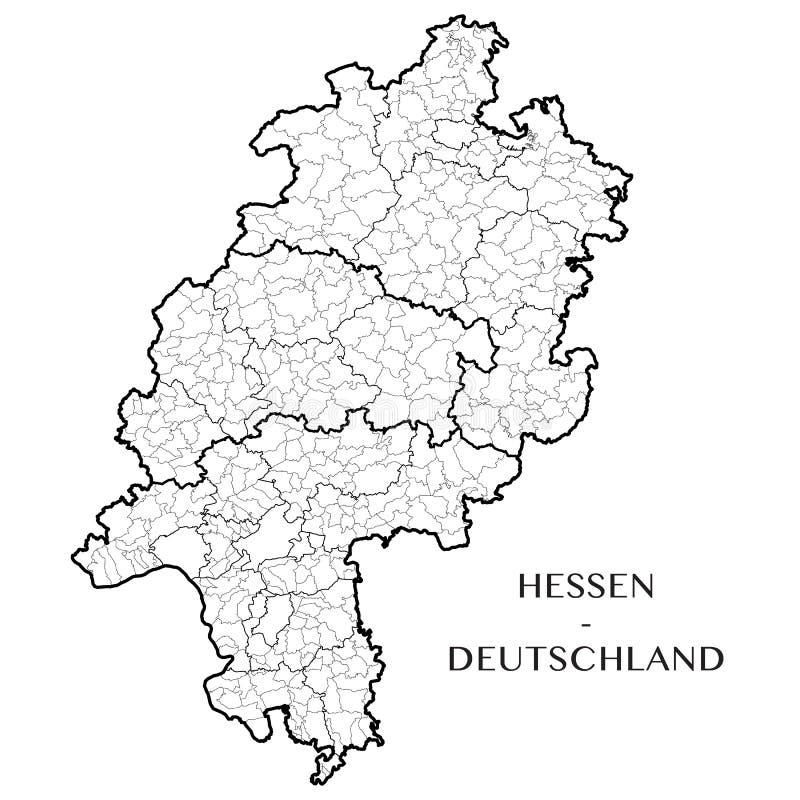Vector o mapa do estado federal de Hesse, Alemanha ilustração stock