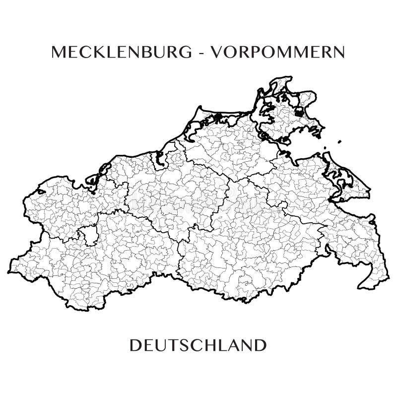 Vector o mapa do estado federal de Meclemburgo-Pomerania, Alemanha ilustração do vetor