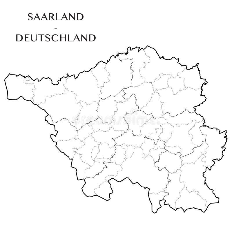 Vector o mapa do estado federal de Saarland, Alemanha ilustração do vetor