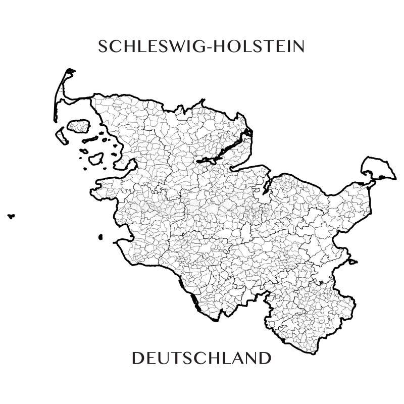 Vector o mapa do estado federal de Schleswig Holstein, Alemanha ilustração stock