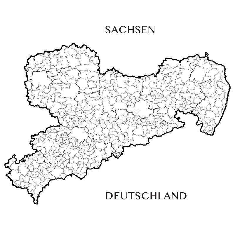 Vector o mapa do estado livre federal de Saxony, Alemanha ilustração do vetor