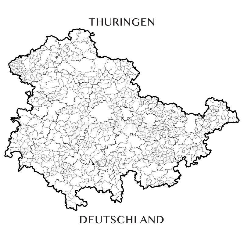 Vector o mapa do estado livre federal de Thuringia, Alemanha ilustração stock