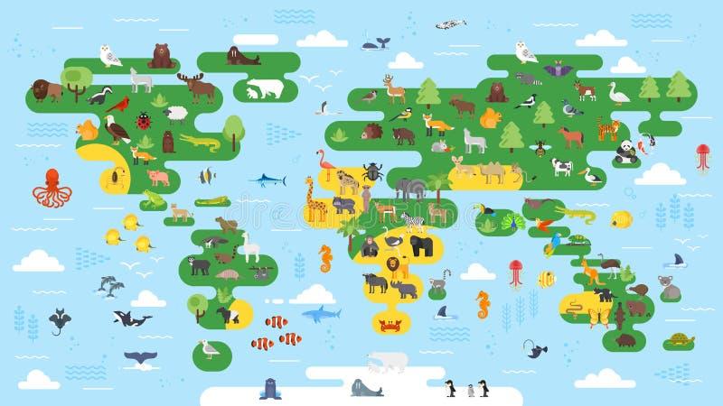 Vector o mapa do mundo abstrato grande do estilo liso com animais ilustração do vetor