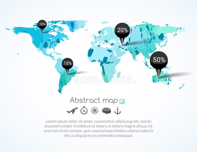 Vector o mapa do mundo azul do triângulo com etiquetas, pontos e destinos com ícones avião, sol, nuvem, âncora, compasso ilustração do vetor