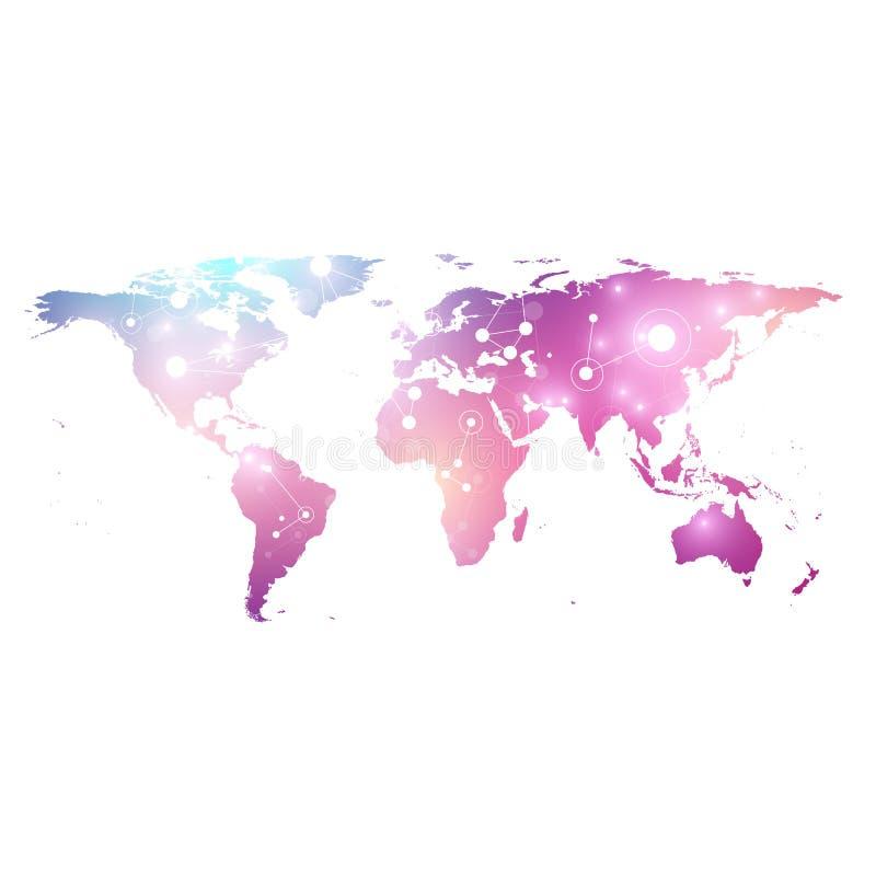 Vector o mapa do mundo do molde com conceito global dos trabalhos em rede da tecnologia Conexões de rede global Dados de Digitas ilustração royalty free