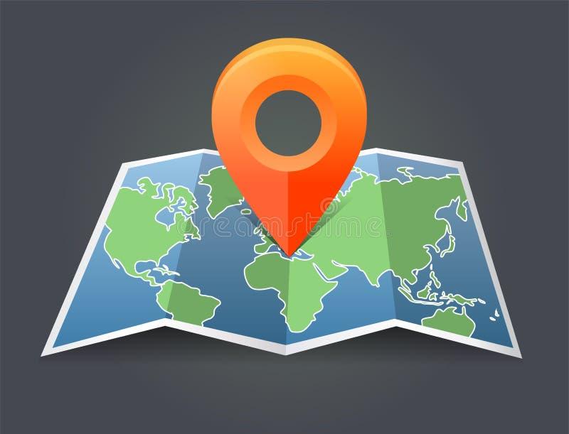 Vector o mapa do ponteiro do mundo e do pino ilustração stock