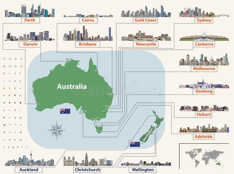 Vector o mapa e as bandeiras de Austrália e de Nova Zelândia com skylines das cidades as maiores ilustração stock