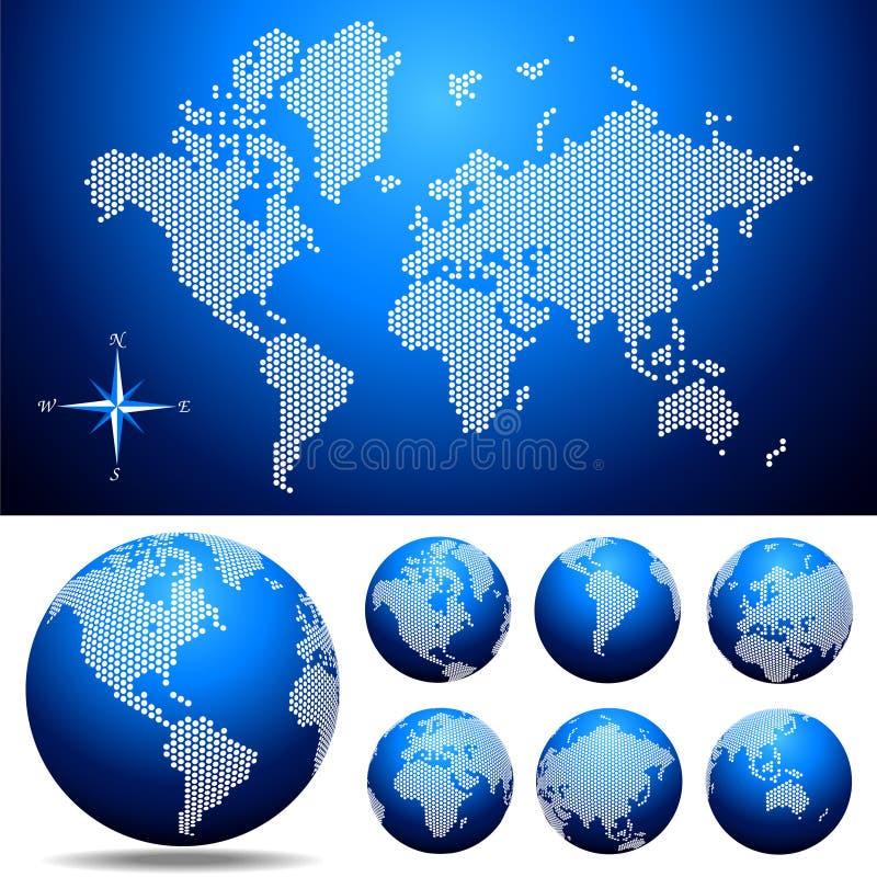 Vector o mapa e o globo pontilhados do mundo ilustração do vetor