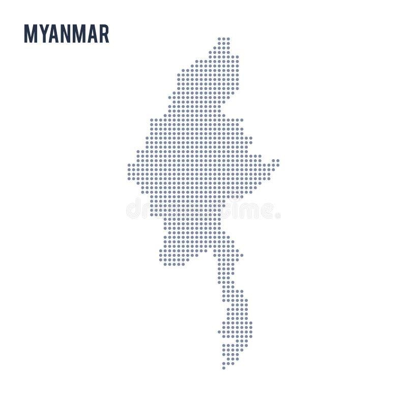 Vector o mapa pontilhado de Myanmar isolou-se no fundo branco ilustração stock