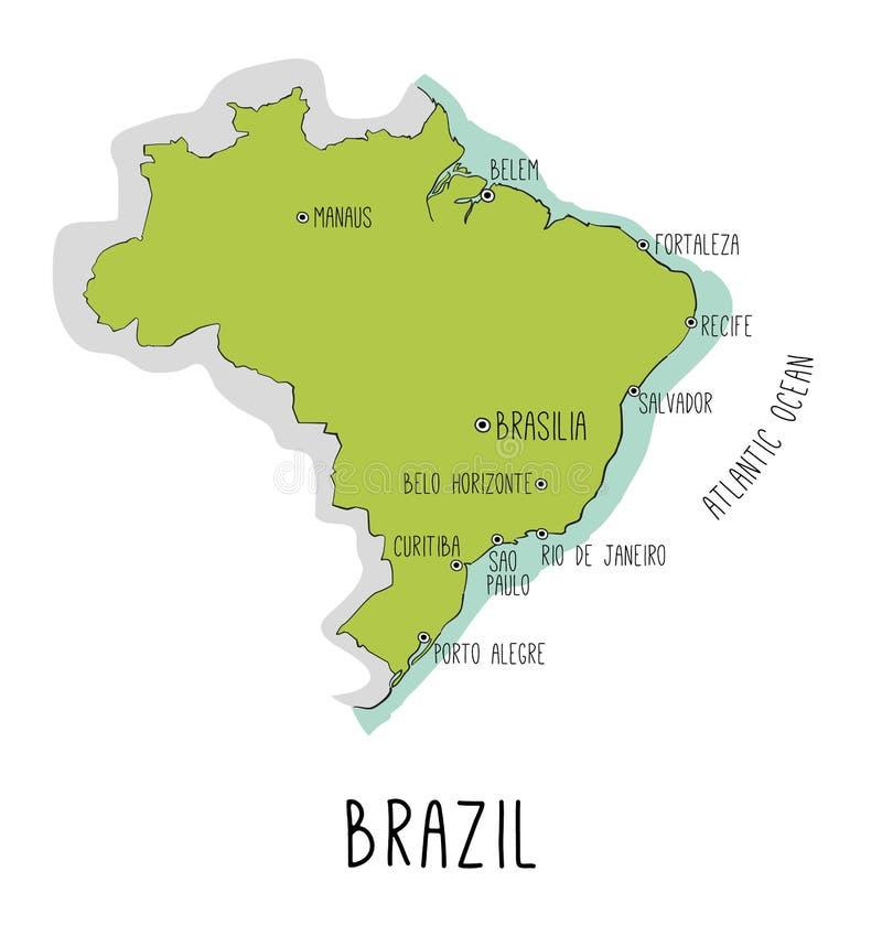 Vector o mapa tirado mão de Brasil com cidades principais ilustração stock