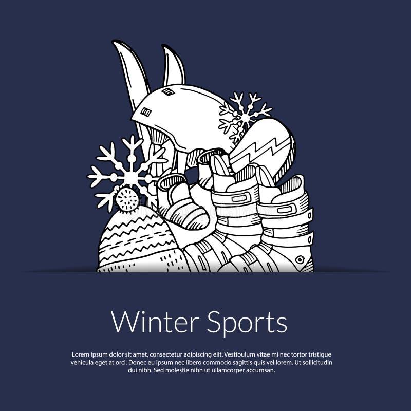 Vector o material desportivo tirado mão e os atributos do inverno na ilustração do bolso com lugar para o texto ilustração stock