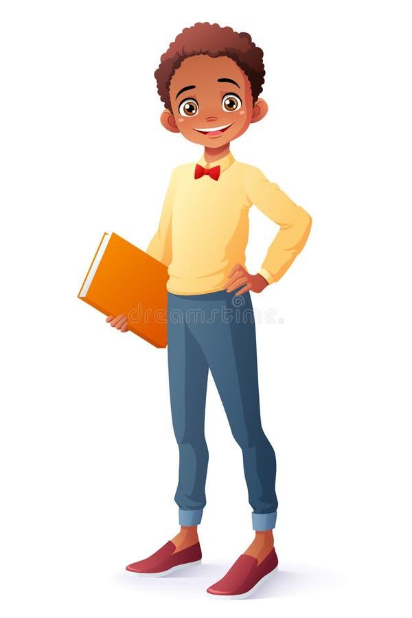 Vector o menino étnico africano novo de sorriso esperto bonito do estudante da escola ilustração stock