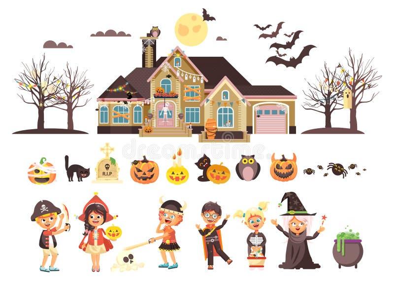 Vector o menino isolado ilustração da doçura ou travessura das crianças, menina, festa natalícia Dia das Bruxas feliz dos vestido ilustração do vetor