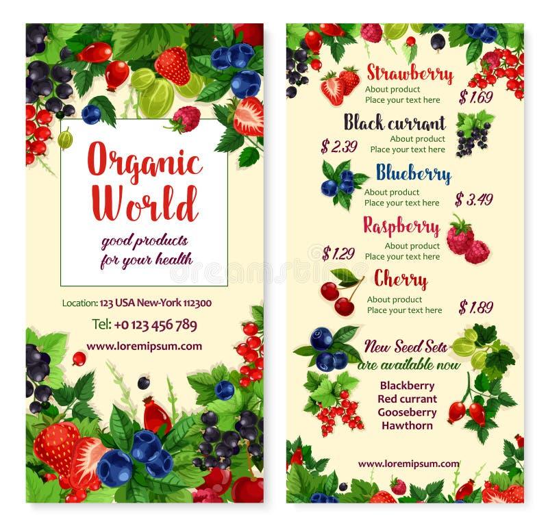 Vector o menu do preço para bagas e frutos do jardim ilustração royalty free