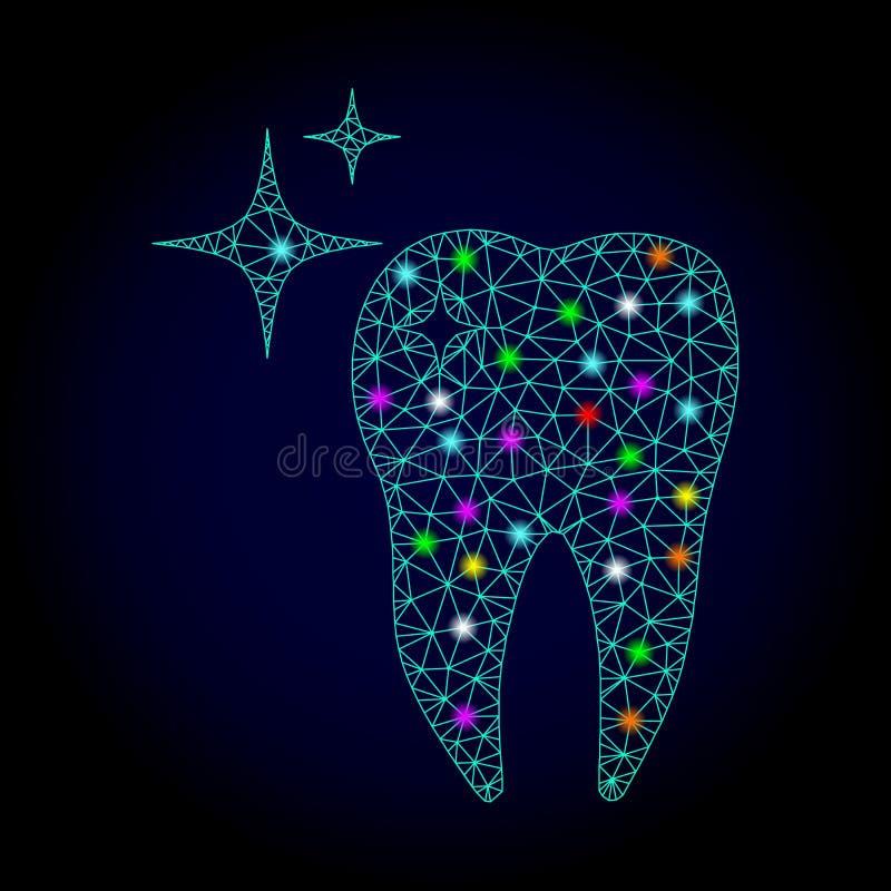 Vector 2.o Mesh Excellent Tooth con los puntos que brillan intensamente por Año Nuevo stock de ilustración