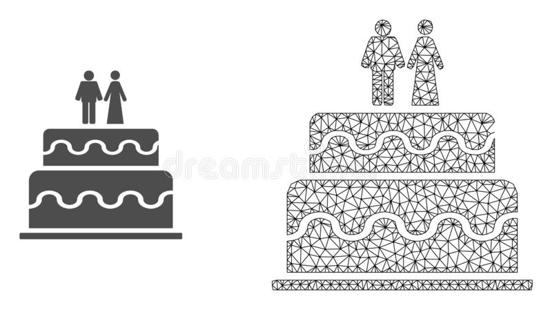 Vector 2.o Mesh Marriage Cake e icono plano libre illustration